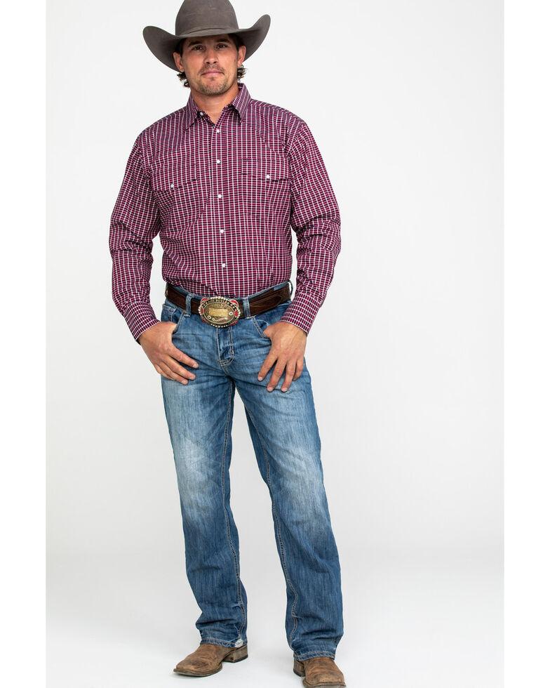 Wrangler Men's Wrinkle Resist Small Plaid Long Sleeve Western Shirt - Big & Tall , Red, hi-res