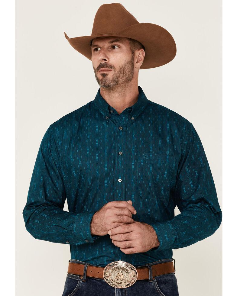 Panhandle Select Men's Teal Tonal Print Long Sleeve Button-Down Western Shirt , Teal, hi-res