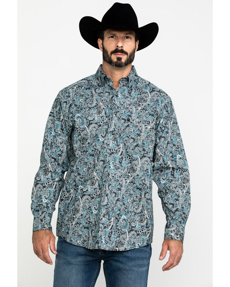 Tuf Cooper Men's Stretch Paisley Print Long Sleeve Western Shirt , Charcoal, hi-res