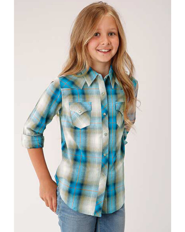 West Made Girls' Blue Plaid Snap Long Sleeve Western Shirt, Blue, hi-res