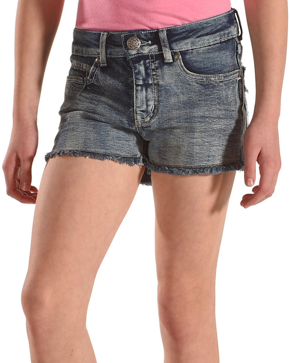 Silver Girls' Lacy Frayed Hem Denim Shorts, Indigo, hi-res