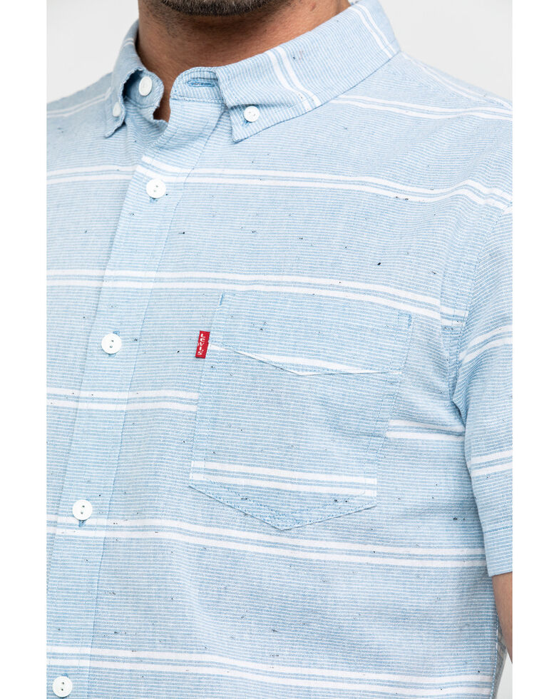 Levi's Men's Pablu Boucher Stripe Short Sleeve Western Shirt , Light Blue, hi-res