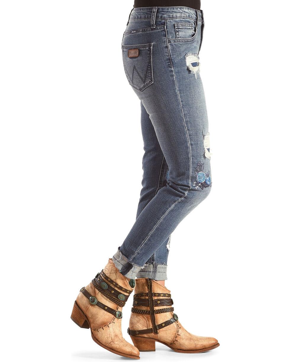 Wrangler Women's Distressed Floral Skinny Jeans, Indigo, hi-res