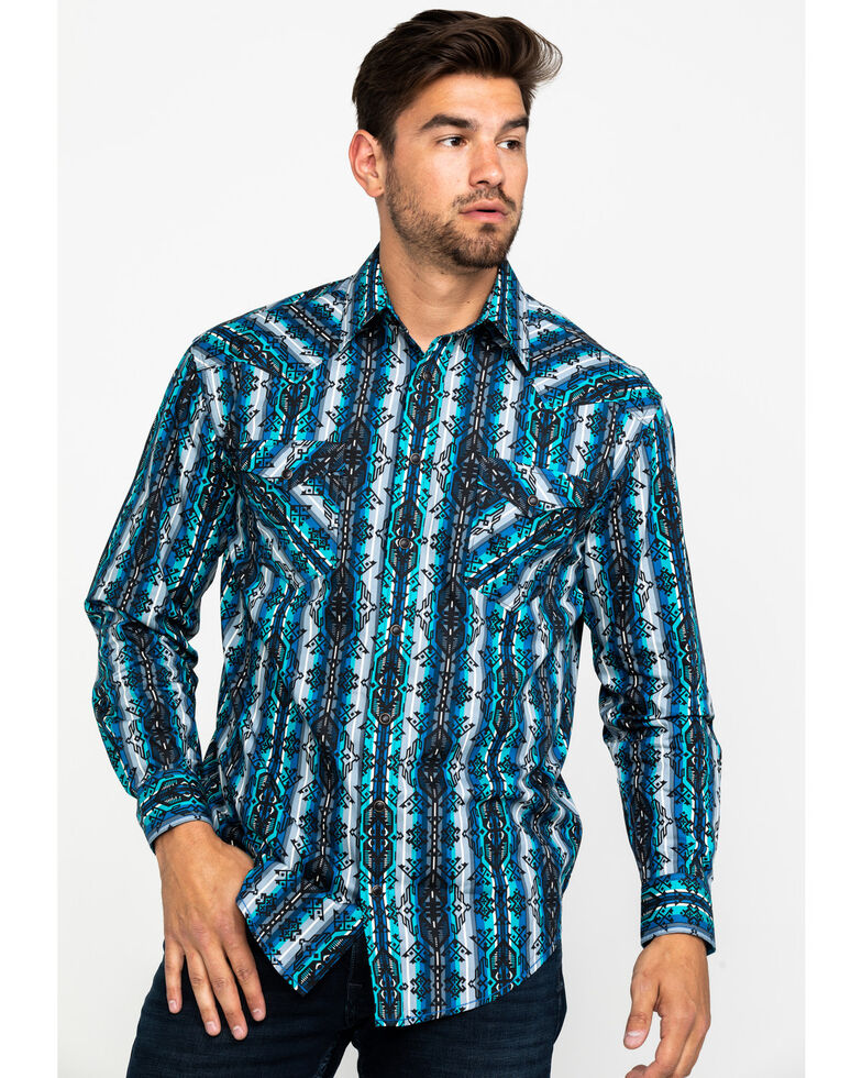 Rough Stock by Panhandle Men's Weston Striped Aztec Print Long Sleeve Western Shirt , Blue, hi-res