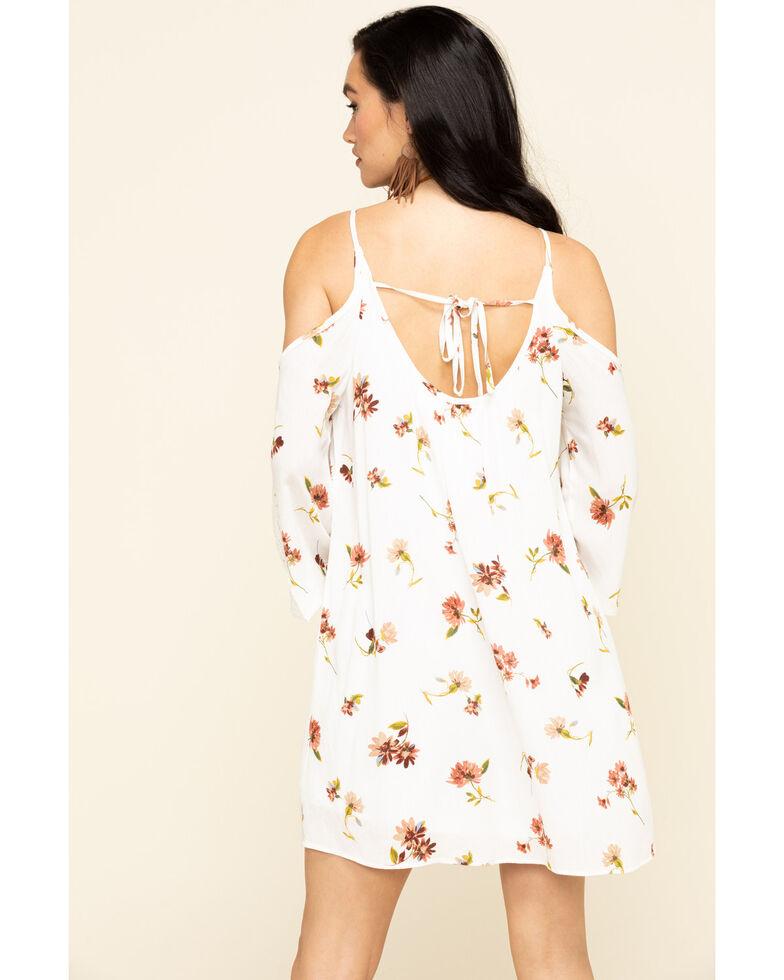 Nikki Erin Women's Ivory Floral Cold Shoulder Shift Dress, Ivory, hi-res