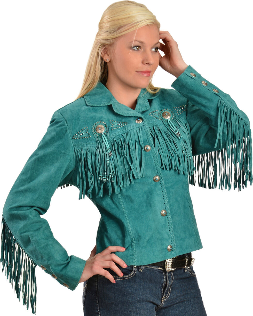 Scully Fringe & Beaded Boar Suede Leather Jacket, Turquoise, hi-res