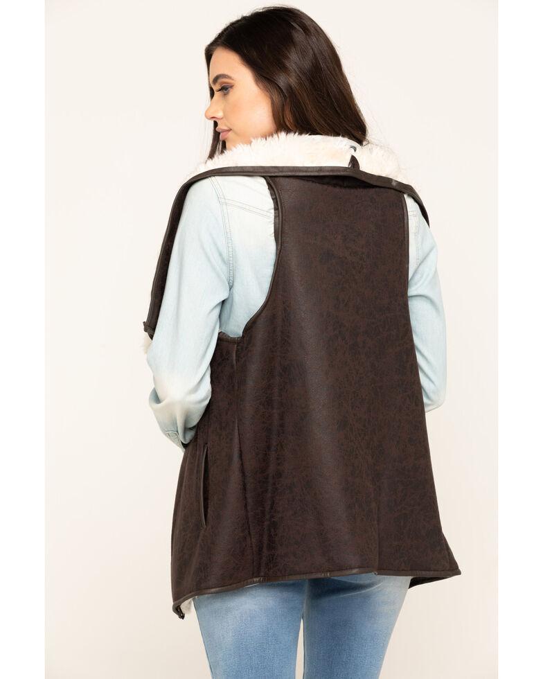 Cripple Creek Women's Pine Cone Faux Shearling Wrap Vest, Brown, hi-res