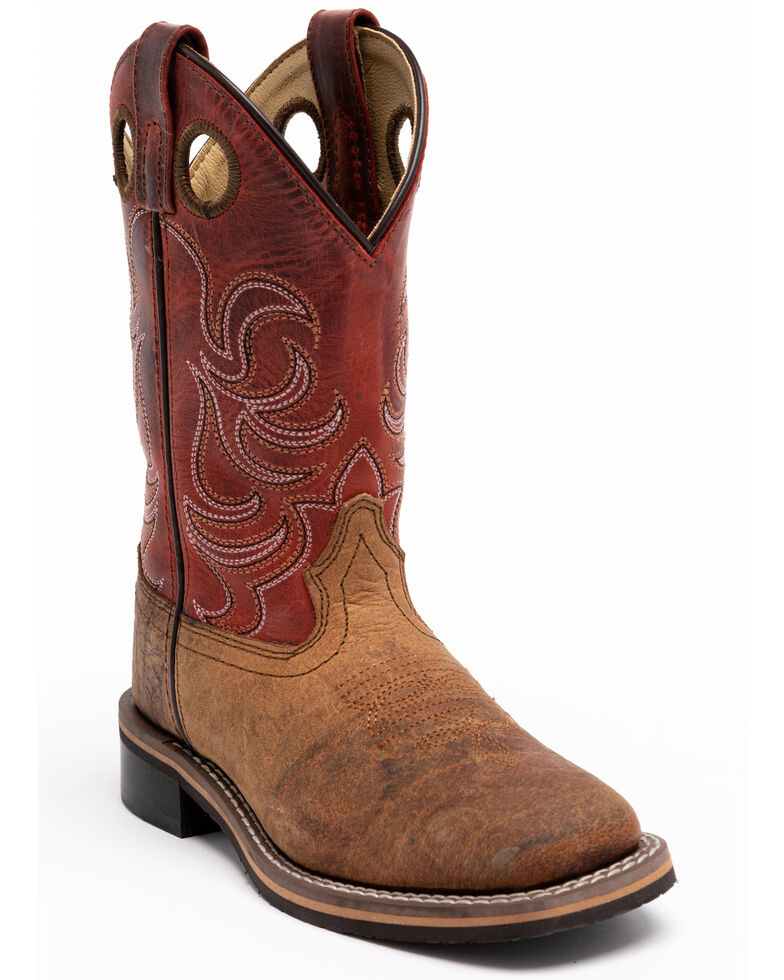 Cody James Youth Boys' Red Top Western Boots - Square Toe, Red/brown, hi-res
