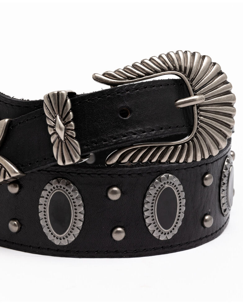 Shyanne Women's Black Oval Concho Studded Western Belt, Black, hi-res