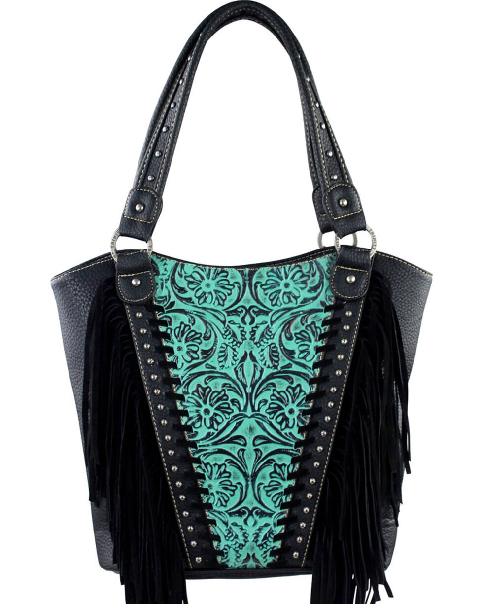 Montana West Trinity Ranch Turquoise Tooled Design Concealed Handgun Collection Handbag, Turquoise, hi-res