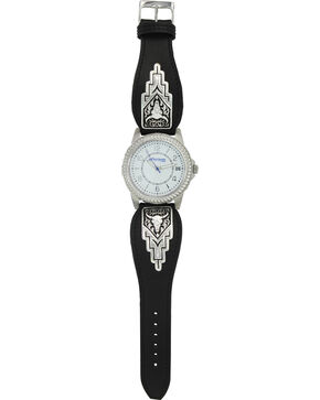 Montana Silversmiths Men's Silver Longhorn Skull Watch , Silver, hi-res