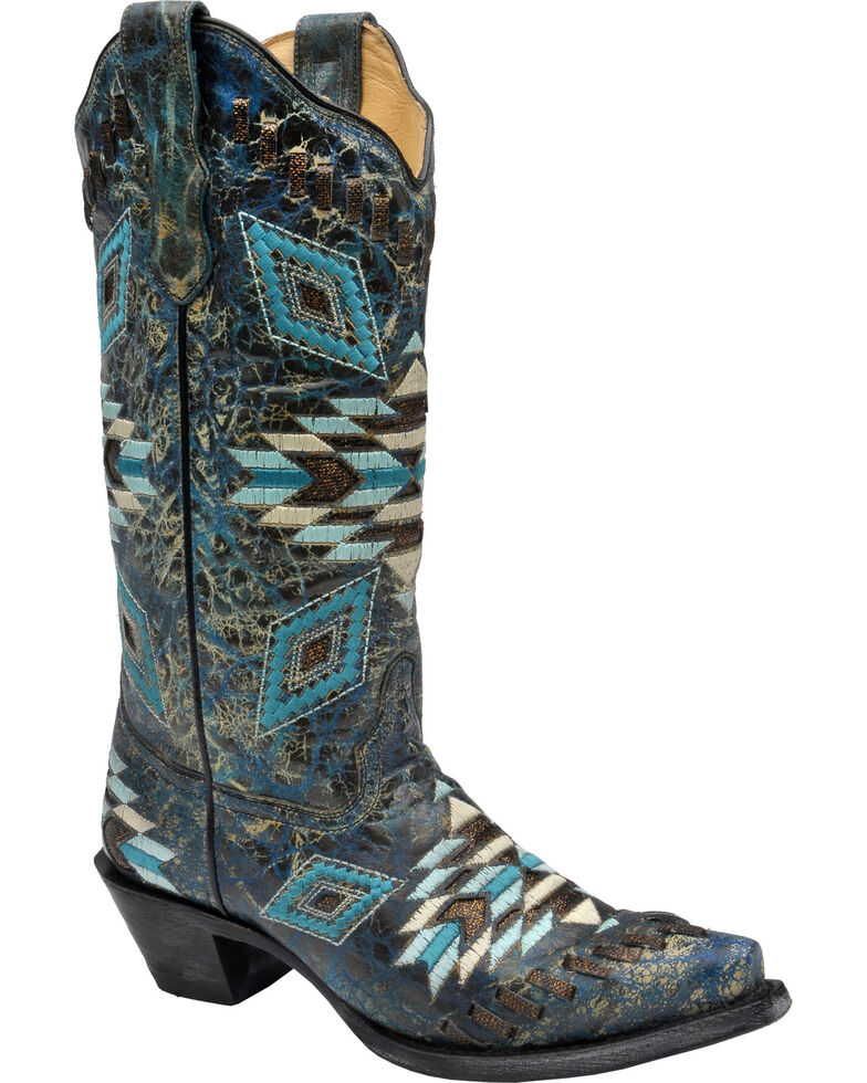 Corral Distressed Turquoise Aztec Woven Cowgirl Boots - Snip Toe , Turquoise, hi-res