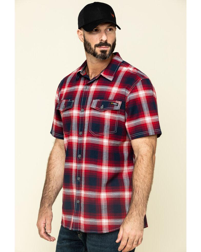 Hawx Men's Bullhead Indigo Plaid Short Sleeve Work Shirt - Tall , Black Cherry, hi-res