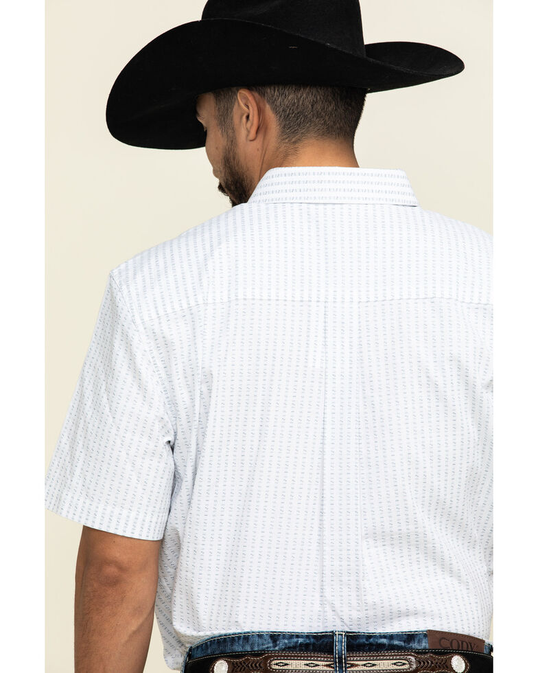 Cody James Core Men's Weekend Warrior Striped Short Sleeve Western Shirt , White, hi-res