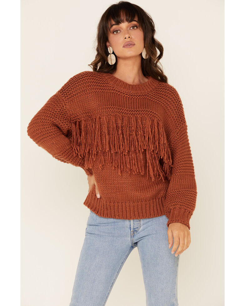 Mink Pink Women's Solid Fringe Crew Chunky Sweater , Bronze, hi-res
