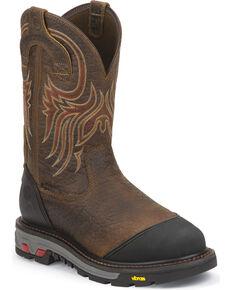 Justin Men's Commander X5 Waterproof Work Boots, Mahogany, hi-res