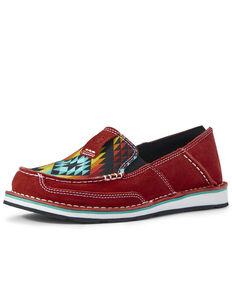 Ariat Women's Cruiser Ruby Serape Shoes - Moc Toe, Red, hi-res