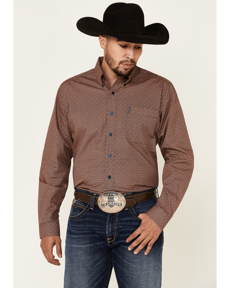 Cinch Men's Coral Square Geo Print Long Sleeve Western Shirt , Coral, hi-res