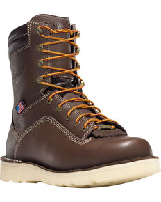 """Danner Men's Brown Quarry USA 8"""" Wedge Work Boots - Soft Round Toe , Brown, hi-res"""