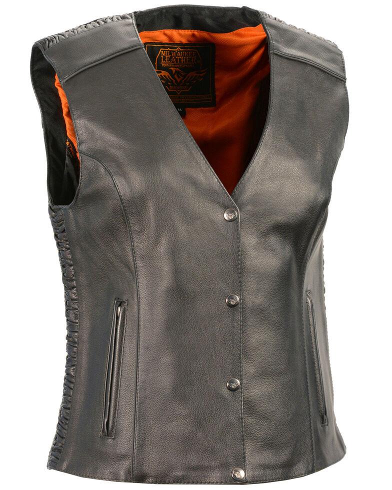 Milwaukee Leather Women's Phoenix Stud Embroidered Snap Front Vest - 4X, Black, hi-res