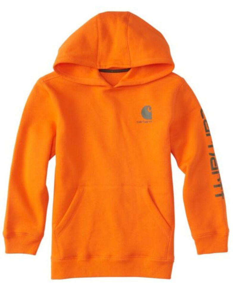 Carhartt Boys' Orange Signature Logo Hooded Sweatshirt , Orange, hi-res