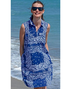 Dizzie Lizzie Women's Sleeveless Bandana Dress , Blue, hi-res