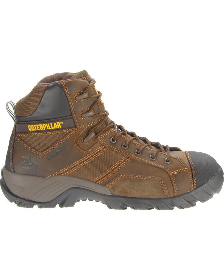 CAT Men's Composite Toe Waterproof Argon HI Work Boots, Dark Brown, hi-res