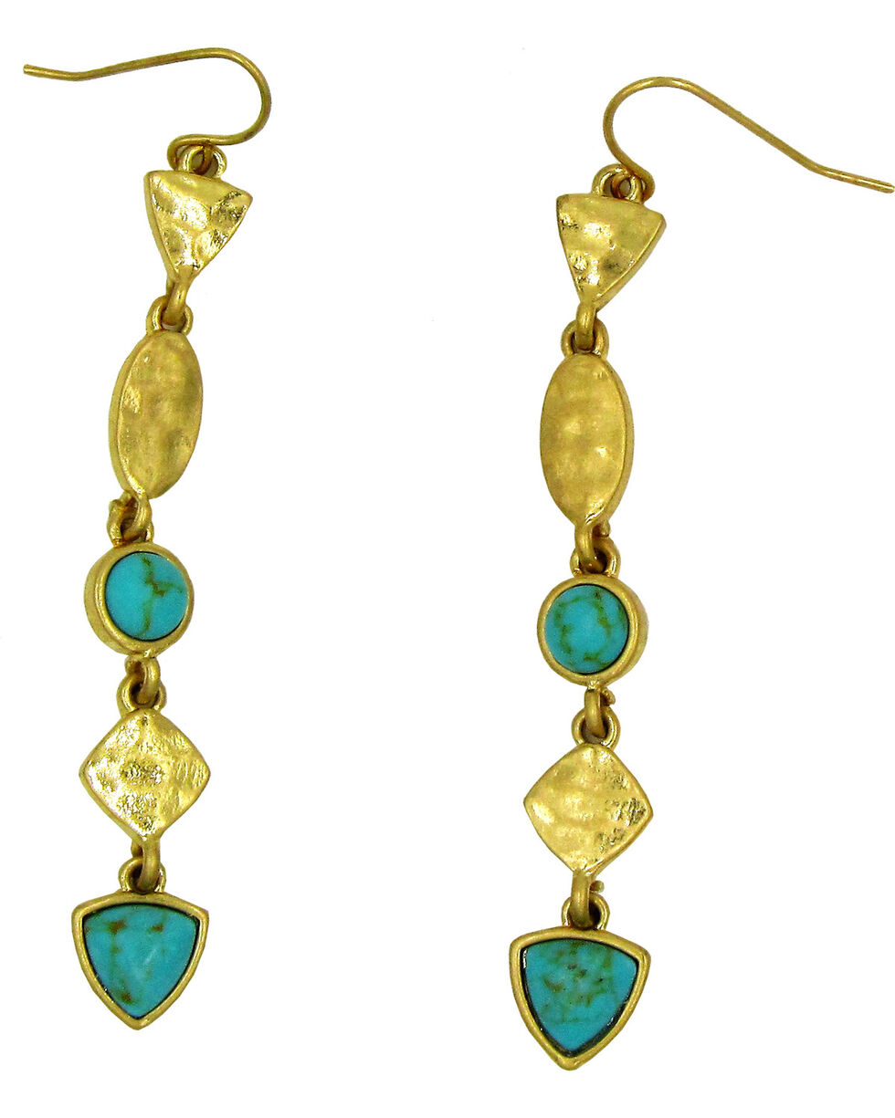 Silver Jeans Women's Genuine Turquoise Linear Earrings, Gold, hi-res
