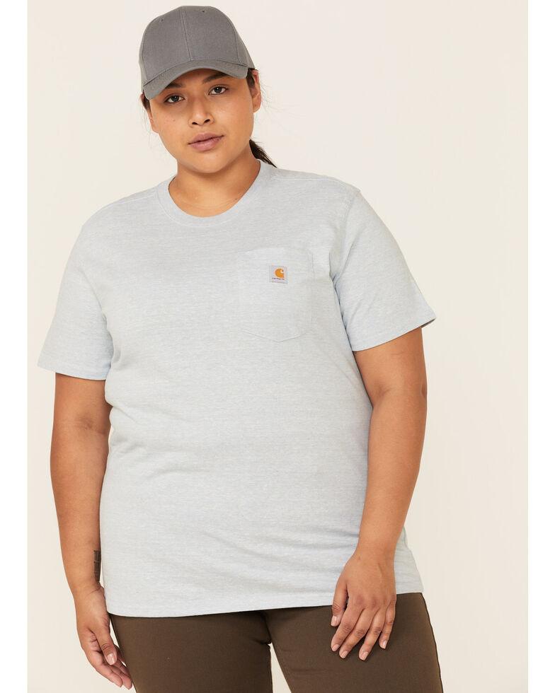 Carhartt Women's Light Blue Pocket Short Sleeve Work T-Shirt - Plus, Light Blue, hi-res