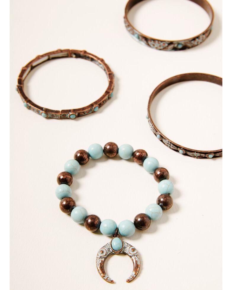Shyanne Women's Crescent Bronze 4pc Stretch Bracelet Set, Rust Copper, hi-res