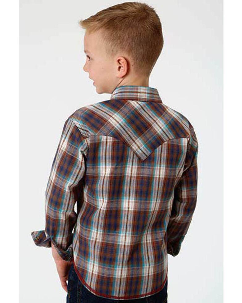 Roper Boys' Performance Desert Dobby Plaid Long Sleeve Western Shirt , Multi, hi-res