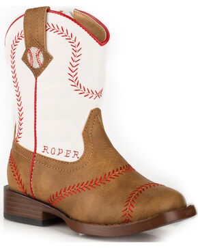 Roper Toddler Boys' Baseball Cowboy Boots - Square Toe, Tan, hi-res