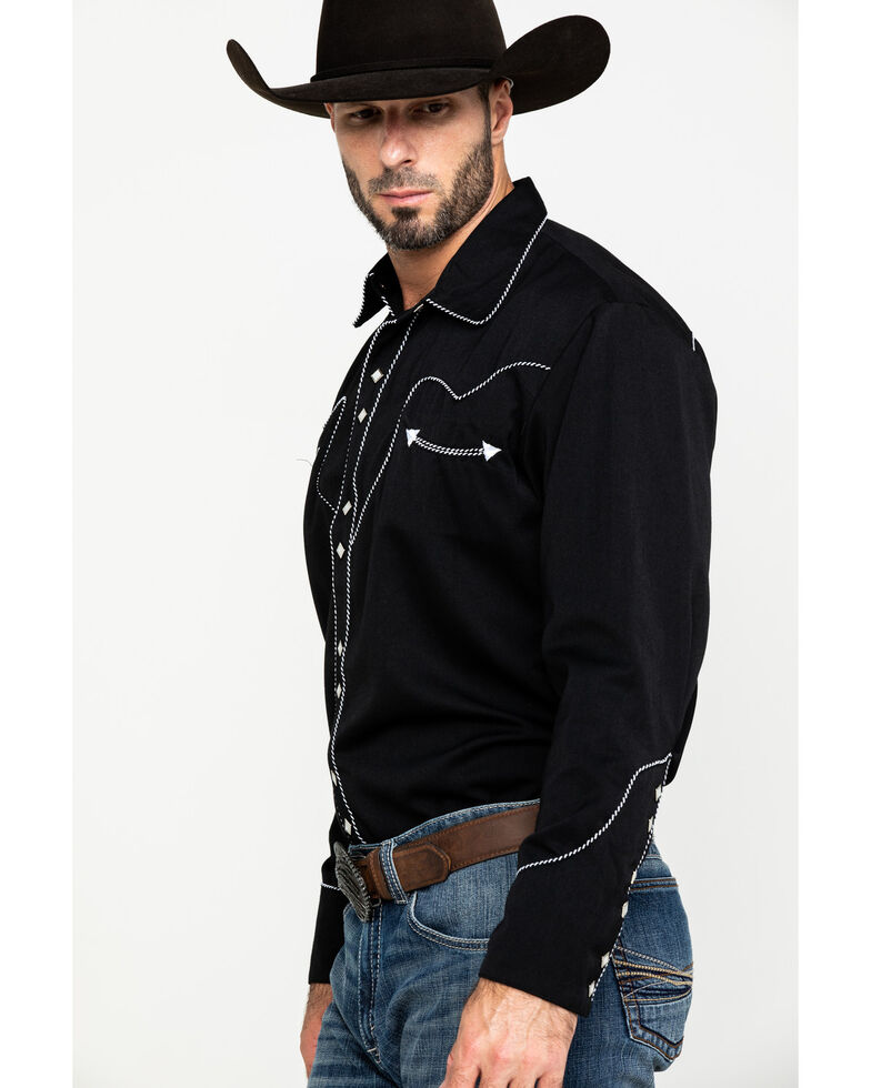 Scully Men's Black Embroidered Long Sleeve Western Shirt , Black, hi-res