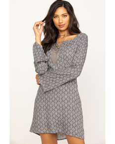 Stetson Women's Geometric Aztec Bell Sleeve Dress, Black, hi-res