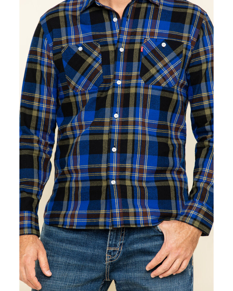 Levi's Men's Kine Plaid Long Sleeve Western Flannel Shirt , Blue, hi-res