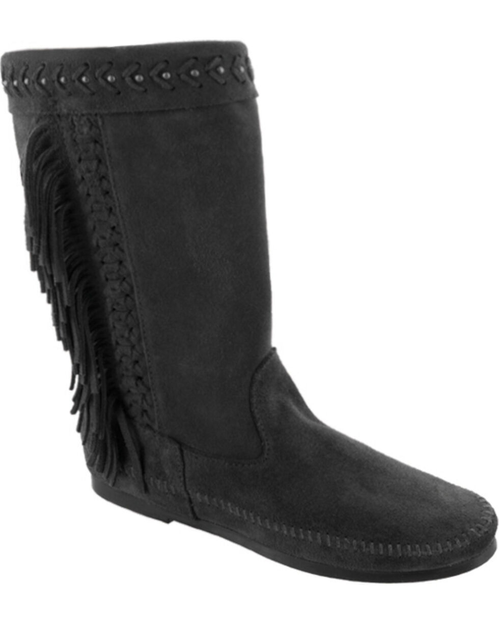 Minnetonka Women's Luna Fringe Boots, Black, hi-res