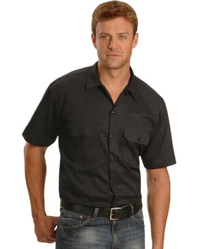Dickies Men's Short Sleeve Work Shirt, Black, hi-res