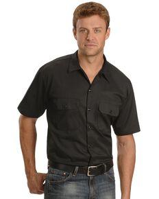 Dickies Men's Short Sleeve Work Shirt, Black, hi-res