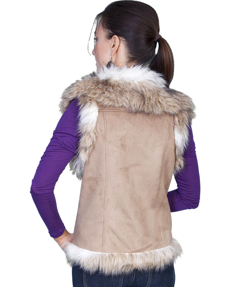 Scully Women's Suede Faux Fur Vest, Hazelnut, hi-res