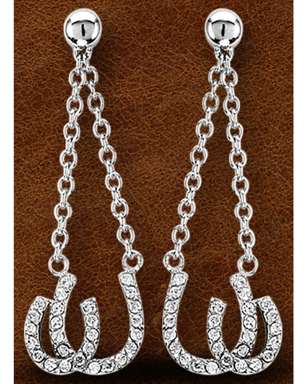 Kelly Herd Sterling Silver Double Horseshoe Earrings , Silver, hi-res