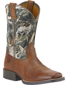 Ariat Boys' Quickdraw Camo Boots - Square Toe, Tan, hi-res
