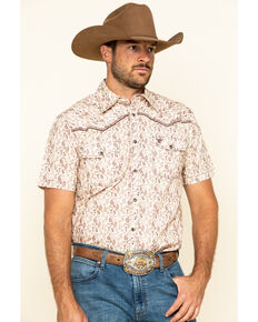 Cowboy Hardware Men's Tan Tonal Paisley Print Short Sleeve Western Shirt , Tan, hi-res