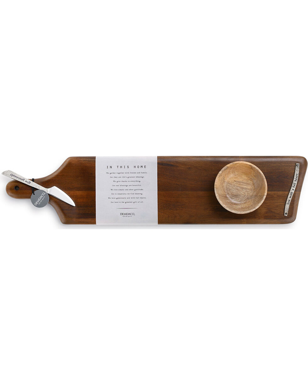 Demdaco Brown Full Heart Serving Board, Bowl, & Spreader Set , Brown, hi-res