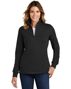 Sport Tek Women's Black 1/4 Zip Front Work Pullover , Black, hi-res