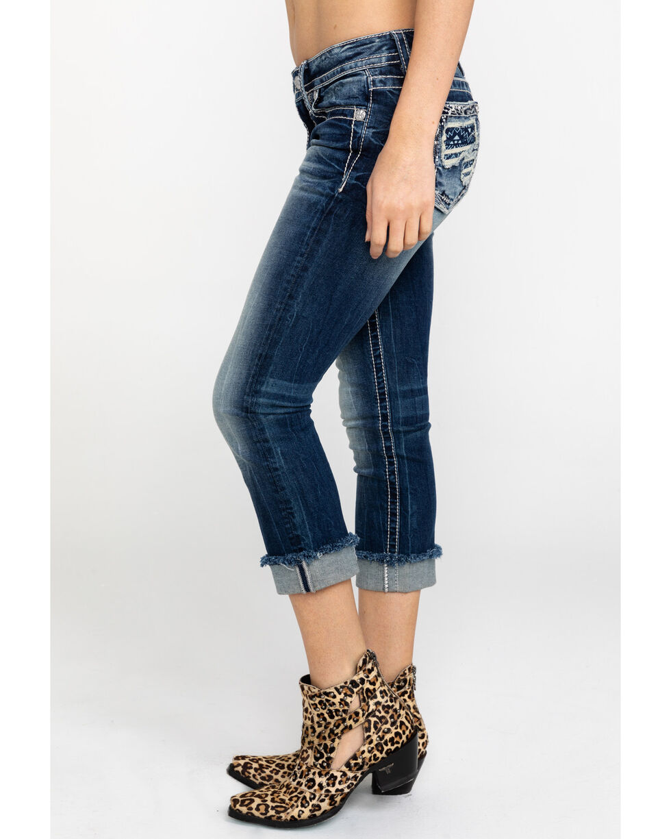 Miss Me Women's Aztec Embroidered Distressed Pocket Capri Jeans , Dark Blue, hi-res