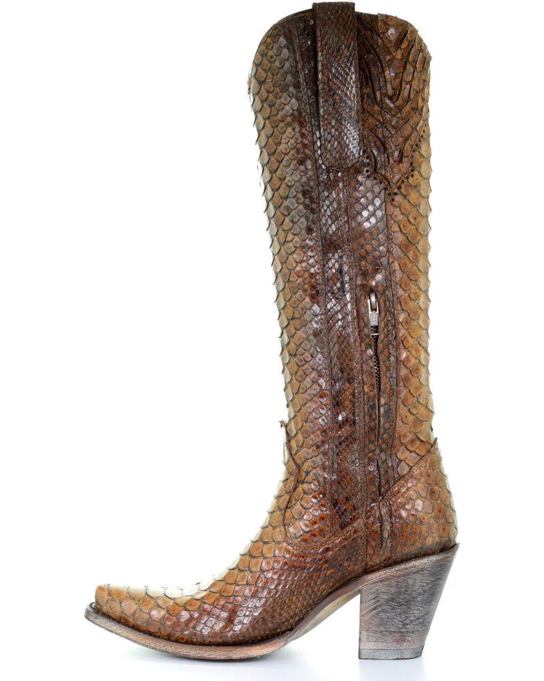 Corral Women's Tan Tall Full Python Zipper Cowgirl Boots - Snip Toe, Wheat, hi-res