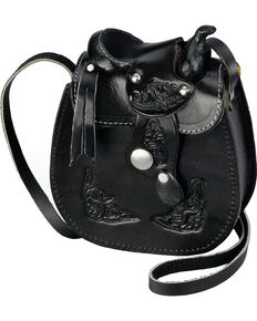 Western Express Women's Small Leather Saddle Bag, Black, hi-res