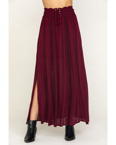 Shyanne Women's Wine Lace Trim Maxi Skirt , Wine, hi-res