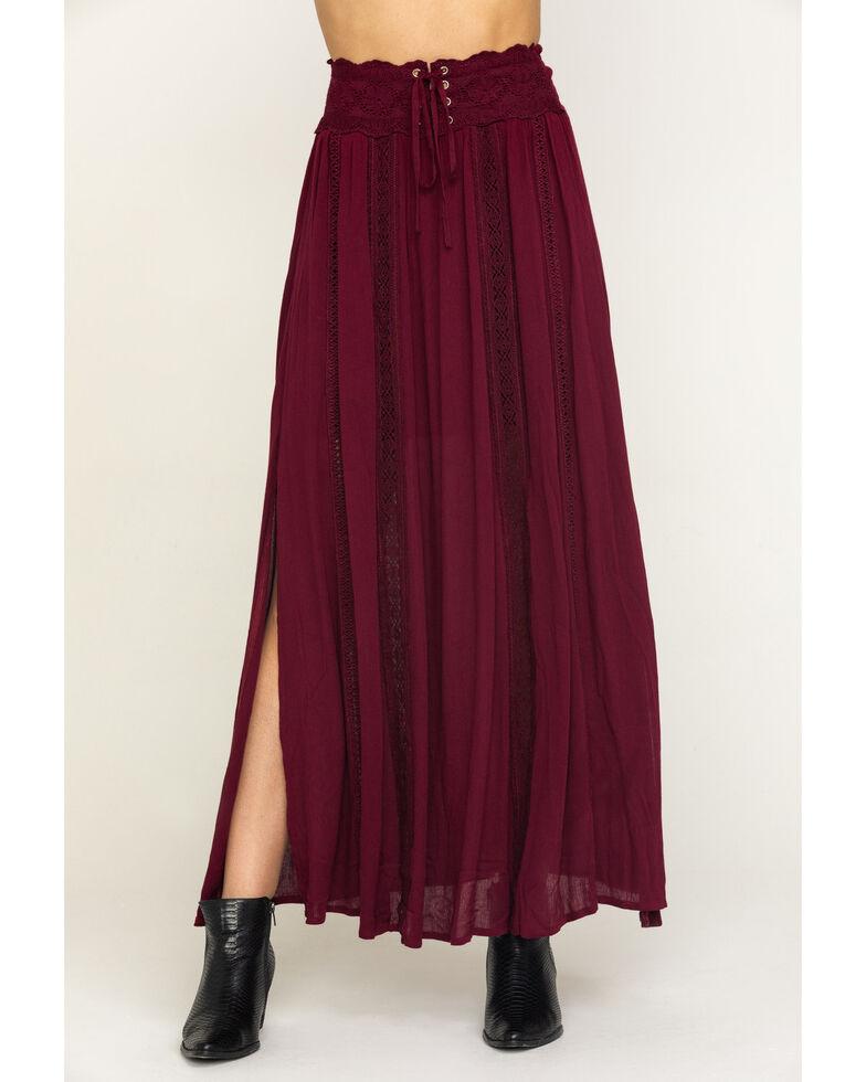 Shyanne Women's Wine Lace Trim Maxi Skirt , Wine, hi-res