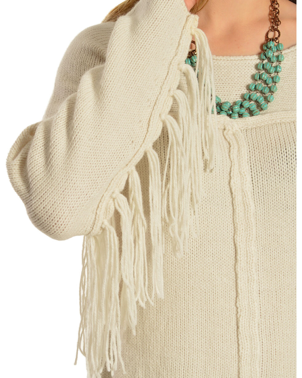 Others Follow Mila Fringe Sleeve Sweater, Cream, hi-res